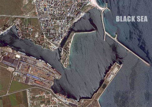The mangalia port seen from satellite