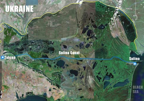 Sulina Canal seen from satellite