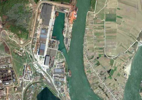 tulcea port seen from satellite